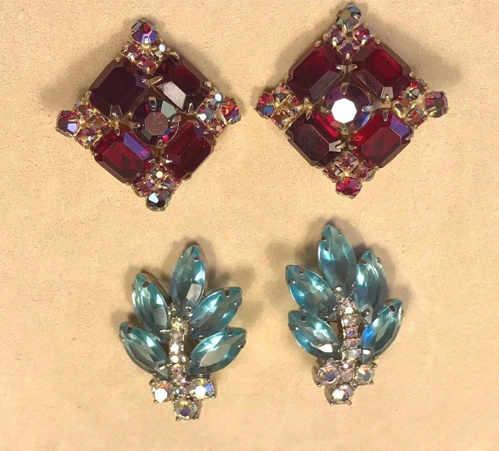 Vintage Clip on Colored Rhinestone Earrings Lot of 2!  Beautiful!! #Unbranded #Cluster