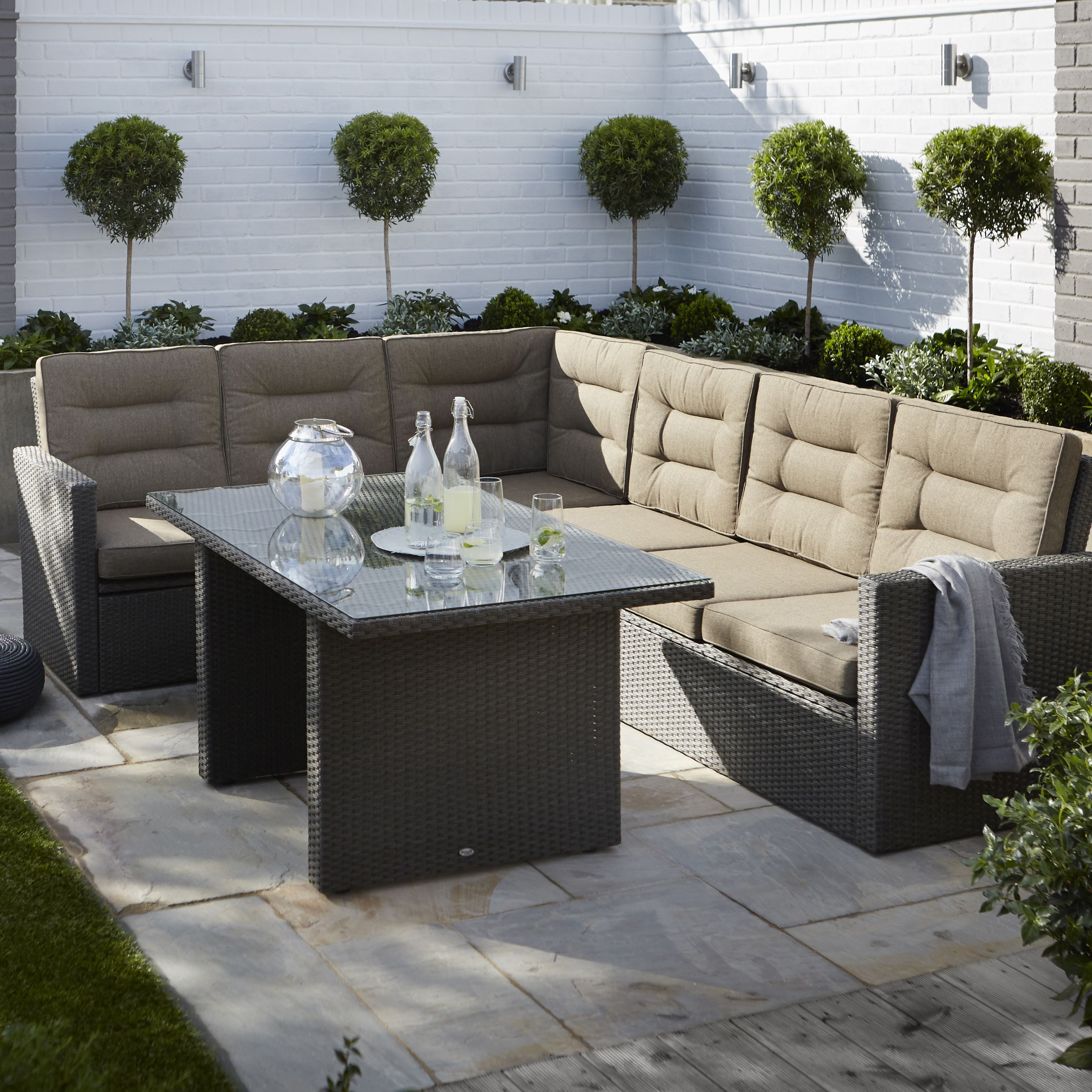Kington Rattan Effect 7 Seater Dining Set Departments Diy At B Q Garden Furniture Garden Furniture Sets Outdoor Garden Furniture