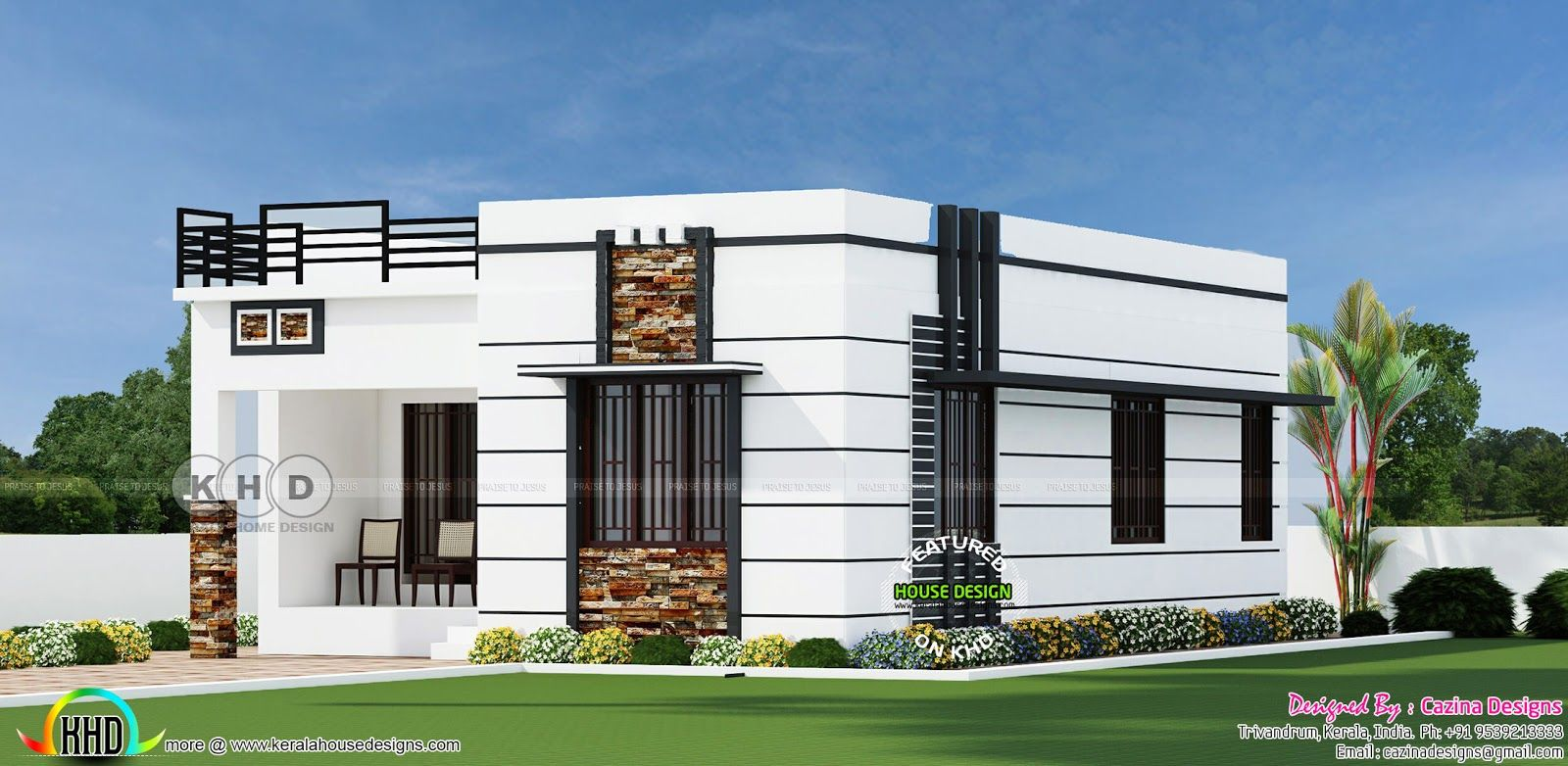 Captivating 2 BHK, 900 Sq Ft Flat Roof Home