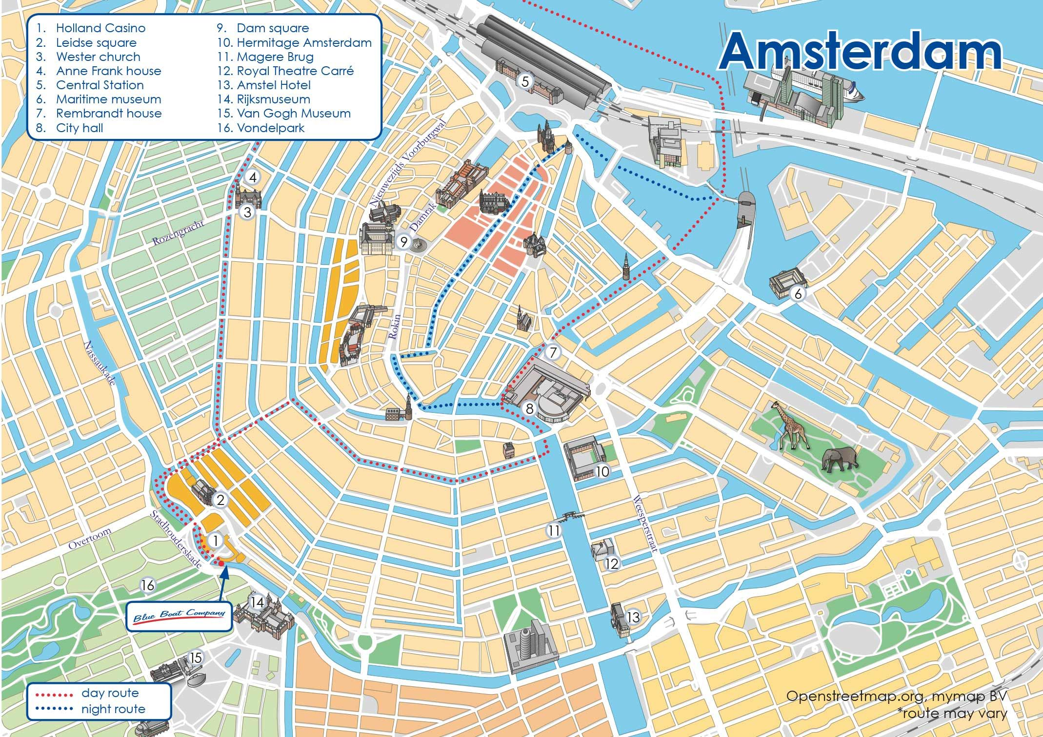 Canal Cruise Amsterdam map city break Pinterest Boat companies