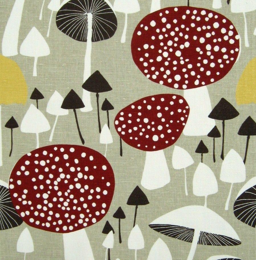 scandinavian fabric vtg retro mushroom DIY cushion curtains 50s 60s Almedahls #almedahls