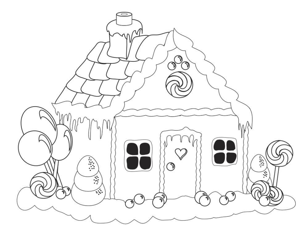 Gingerbread House Lollipop Coloring Pages