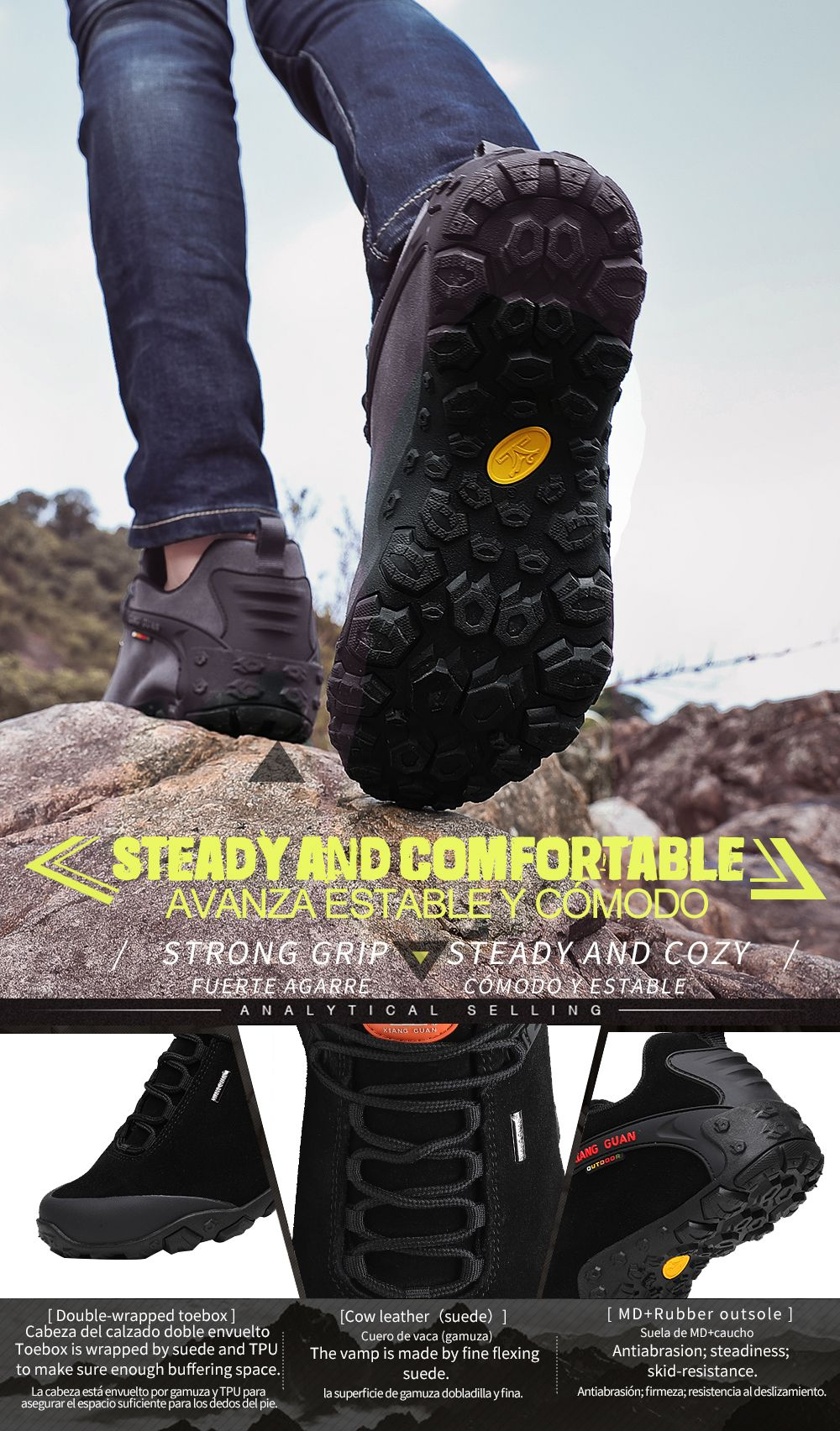 54978e654c0 Buy Best Mens Walking Boots Grey Waterproof Hiking Boots Sale ...