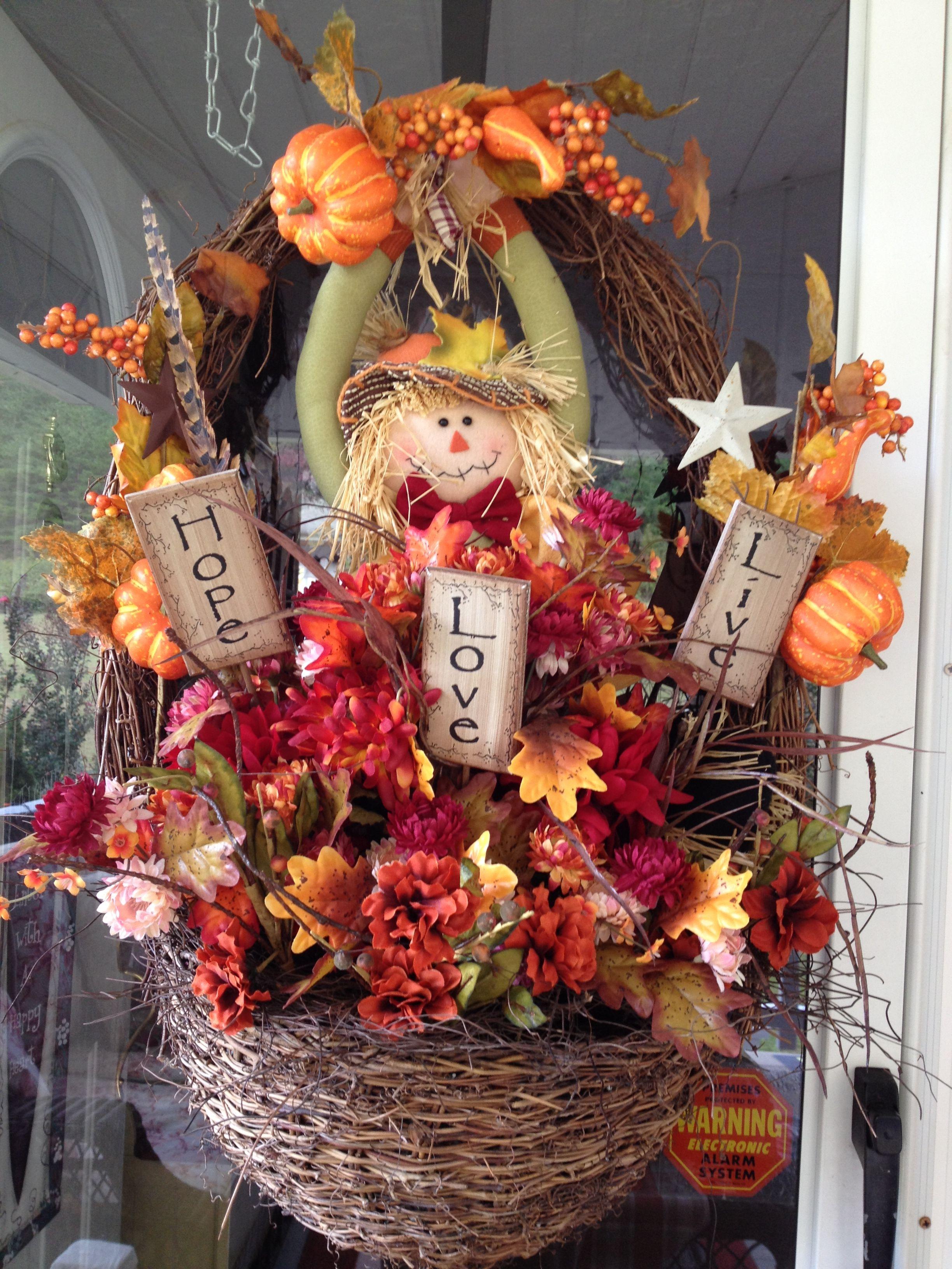 How Cute A Fall Basket I Made Fall Harvest Decorations Fall Halloween Decor Fall Centerpiece