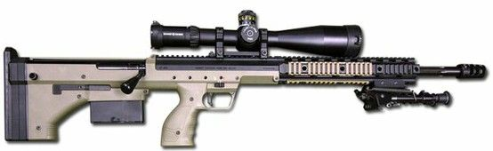 Desert Tactical Arms Stealth Recon Scout ,      Caliber: .338 Lapua Magnum, 7.62x51mm NATO, .300 Win Magnum, .243 Win       Weight: 25.4 lbs (11.5 kg)       Length: 33.5 in (85.1 cm)       Barrel length: 24 in (61 cm)       Capacity: 5 (.338 Lapua), 6 (.300 Win), 7 (.243 Win, 7.62x51mm)