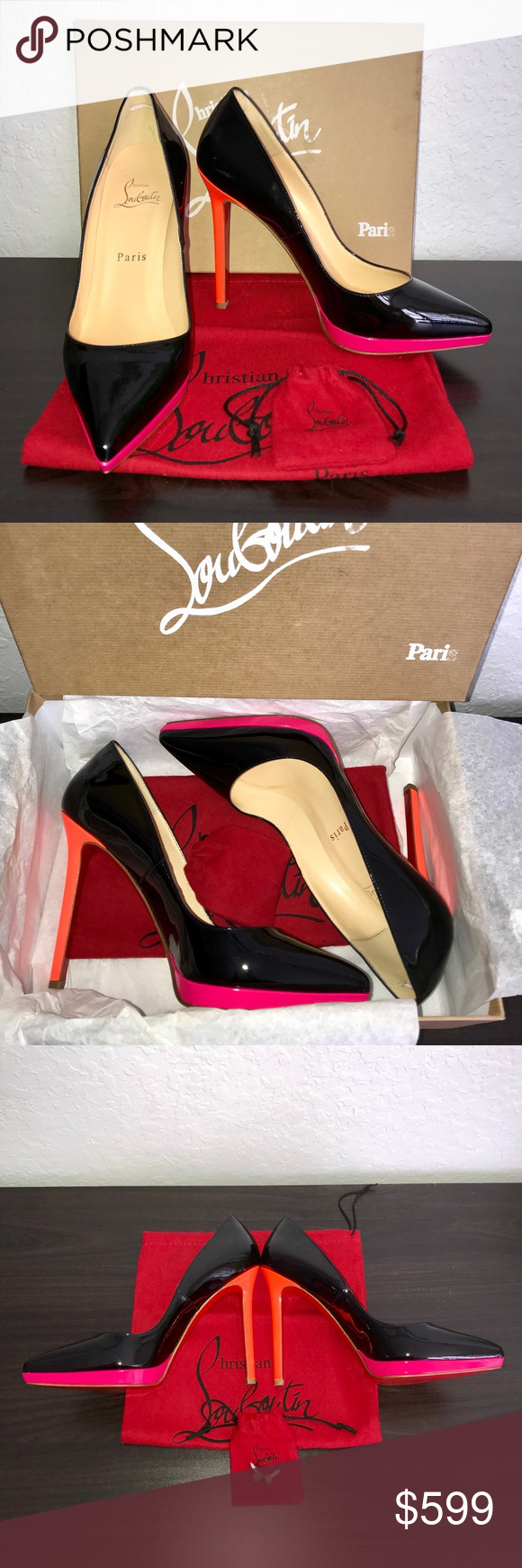 73b677c9d61 Christian Louboutin Pigalle Plato 120 Colorblock In Dunkin Donuts colors!  Retails for  775. Limited