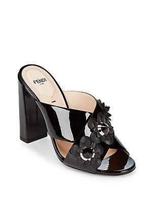 3369780d3 FENDI FLORAL ACCENTED LEATHER BLOCK HEEL SANDALS.  fendi  shoes ...