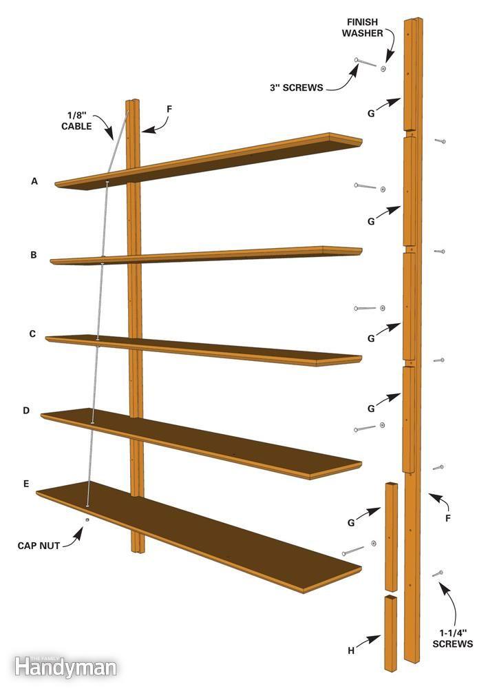 How To Build Suspended Bookshelves Shelves Bookshelf - Diy build industrial hanging shelf