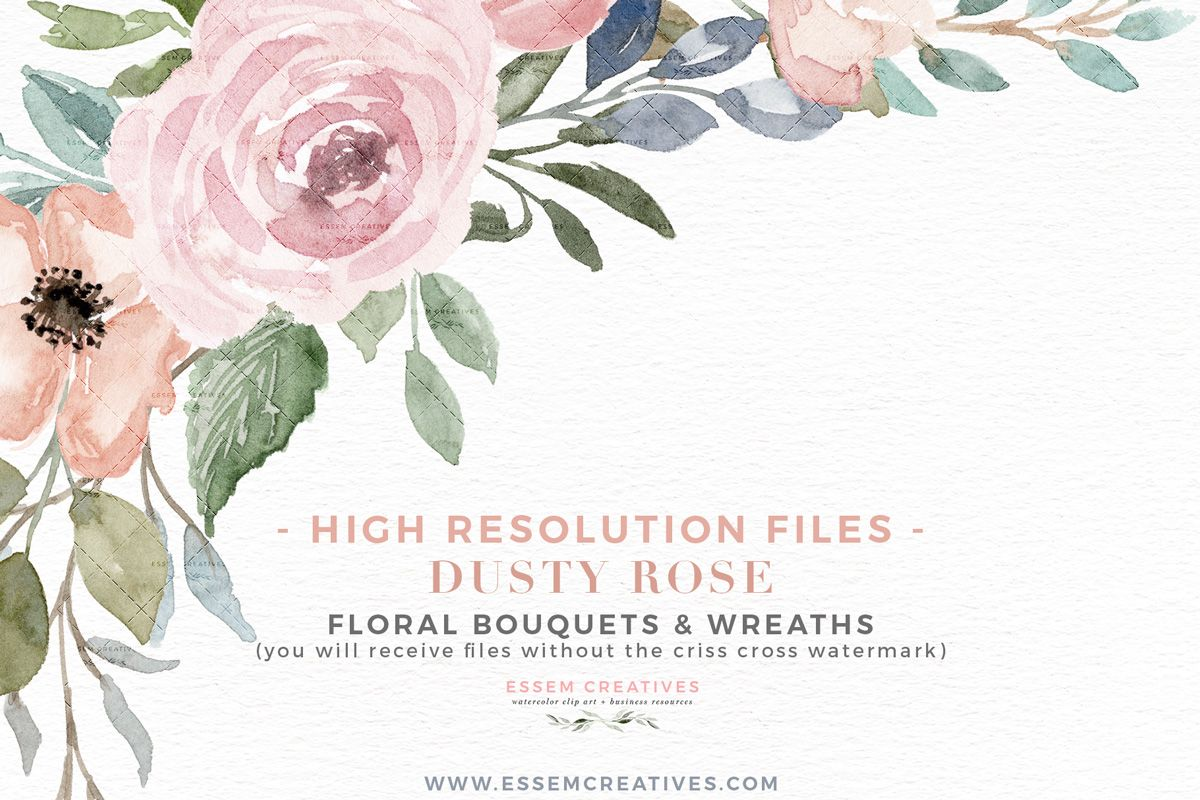 Dusty Rose Watercolor Floral Wreath Borders Bouquets