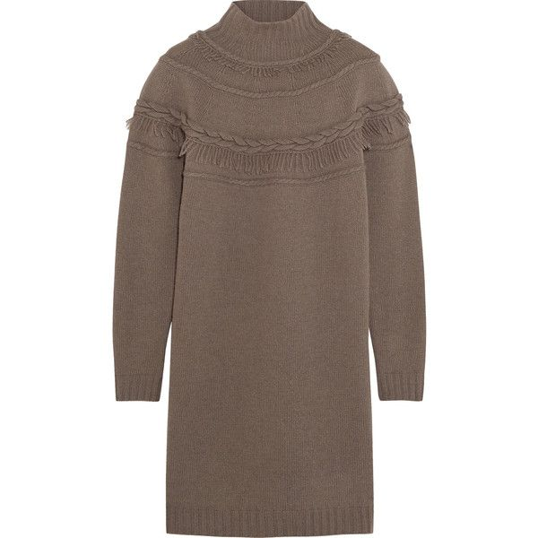 Agnona Fringed wool and cashmere-blend mini sweater dress ($360) ❤ liked on