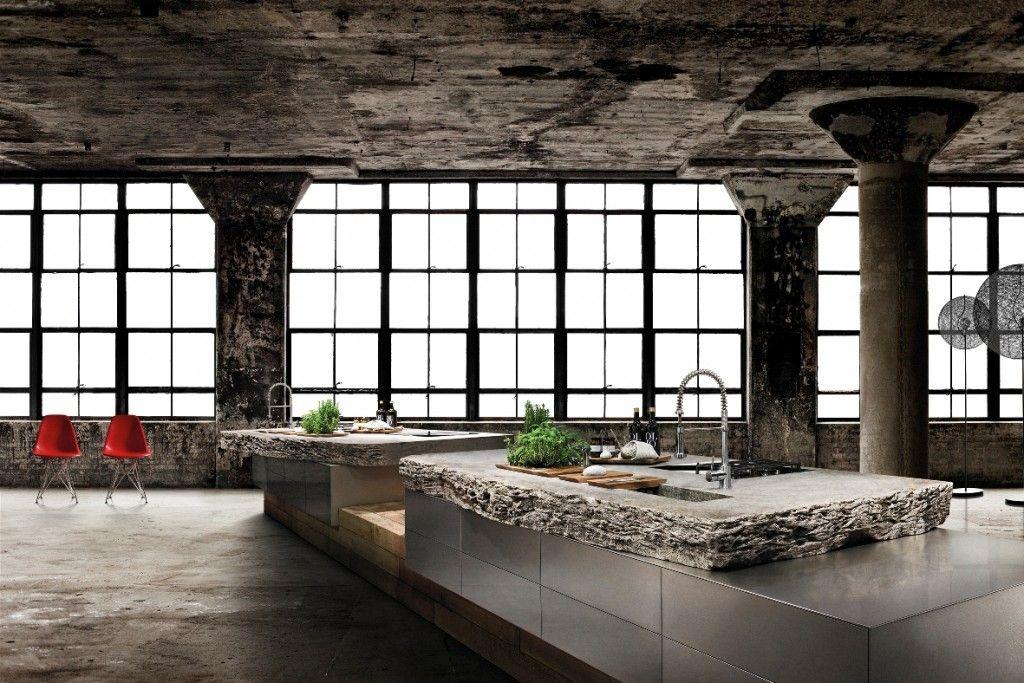 tolle moderne küche mit muschelkalk als arbeitsplatte | hometec