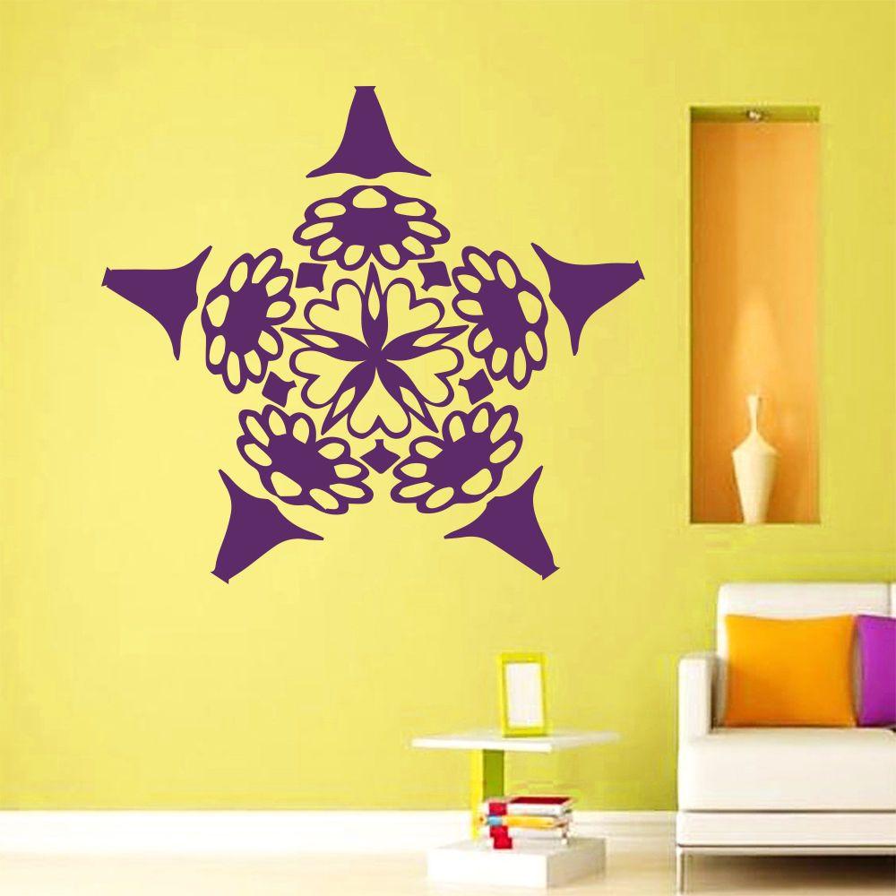 Wall Decals Mandala Om Yoga Flower Pattern Sign Art Bedroom Vinyl ...