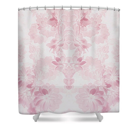 Unique rose pink flower bed design shower by heatherjoycemorrill unique rose pink flower bed design shower curtainoff white pink bath curtainshower accessorieshome interiorrustic vintage style floral mightylinksfo