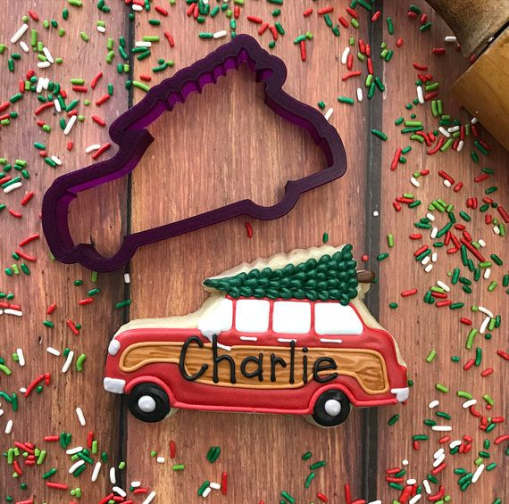 Panel Wagon with Christmas Tree Cookie Cutter and Fondant Cutter and