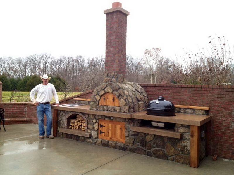 Outdoor Pizza Oven For Outdoor Living Space Ideas: Patio Design Ideas With  Outdoor Pizza Oven And Firewood Storage Also Outdoor Kitchen With Building  A ...