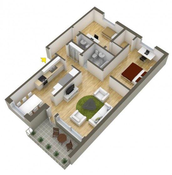 Planos de departamentos de dos dormitorios selecci n de for Programa diseno habitaciones