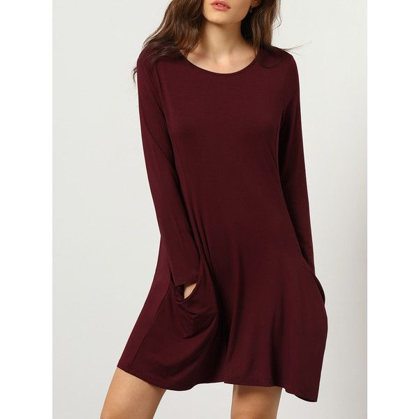 33103017f95b Burgundy Long Sleeve Pockets Dress (20 AUD) ❤ liked on Polyvore featuring  dresses