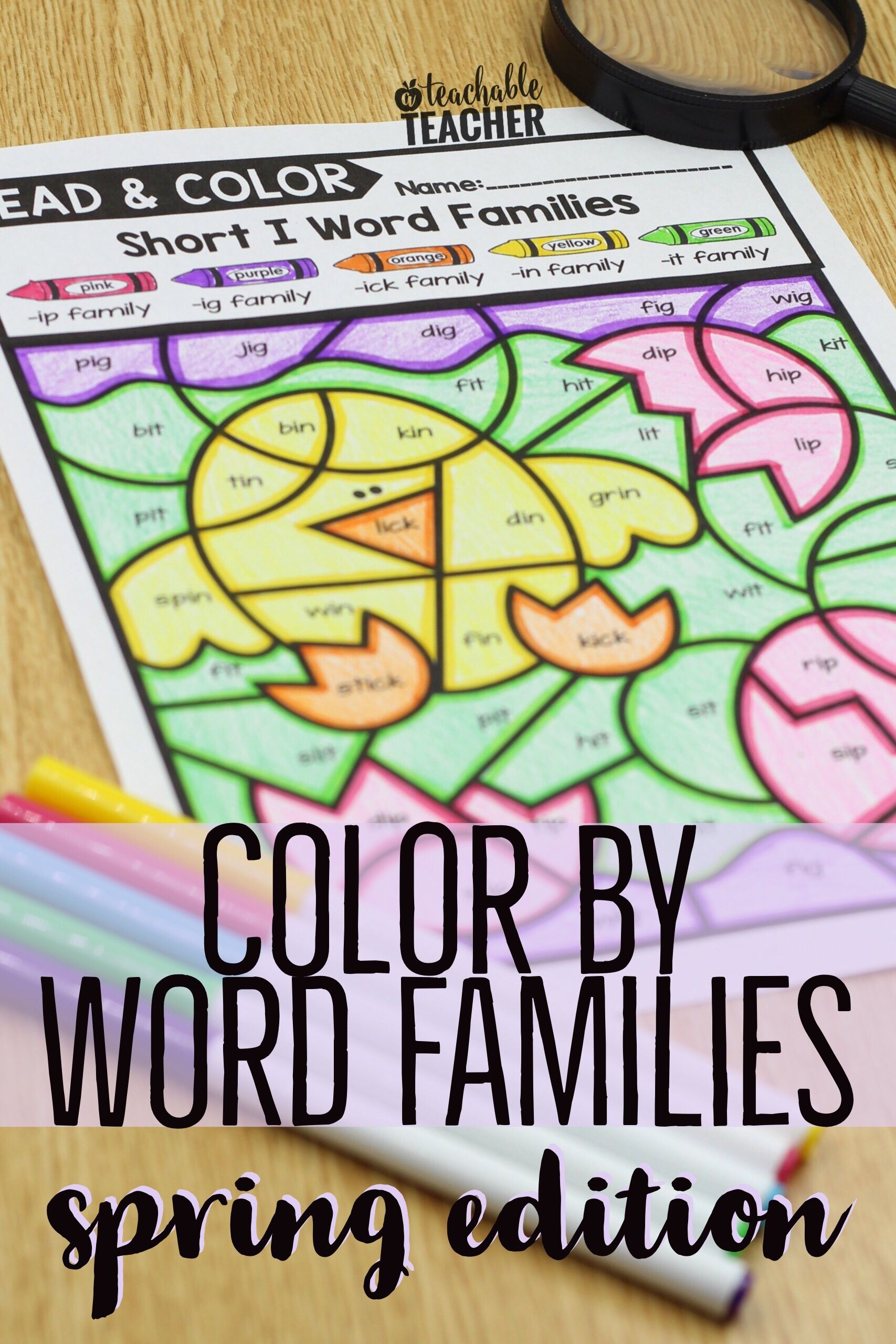 Color By Word Family Activities - Spring Theme | Pinterest | Reading ...