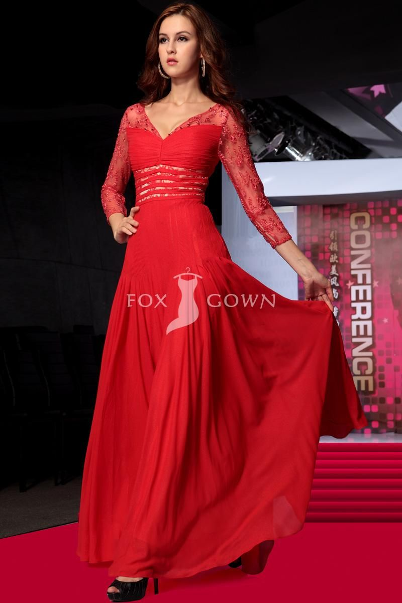 Red lace aline chiffon evening dress with vneck and sheer jacket
