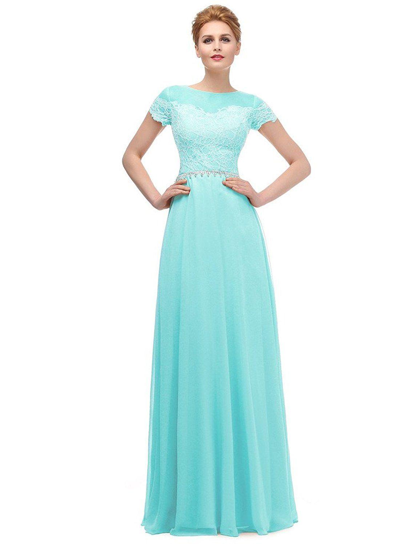 Ysmo Women\'s 2016 Chiffon With Lace Long Evening Dress Short Sleeve ...