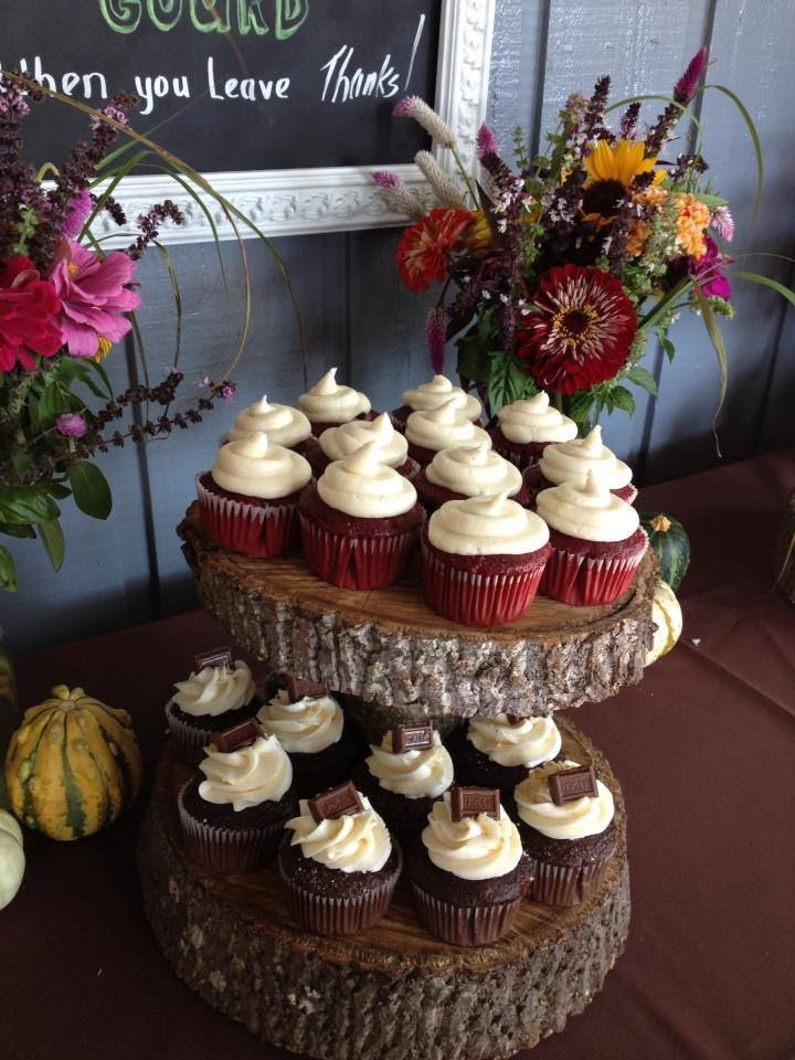 ANother view of DIY rustic cupcake stands for my wedding ...