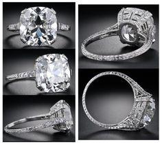 6 48 Carat Antique Cushion Cut Diamond Ring