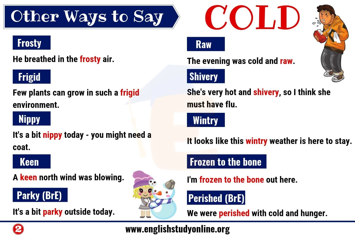 Cold Synonyms List Of 20 Useful Synonyms For Cold With Examples English Study Online Other Ways To Say English Study Synonym