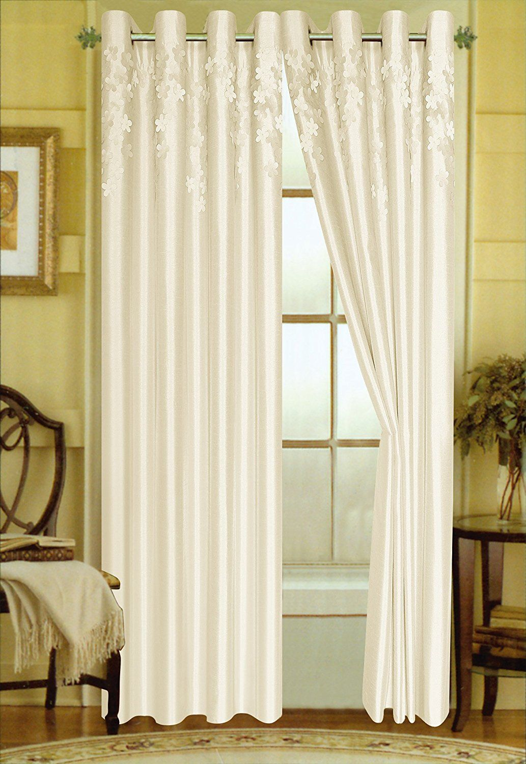 Editex home curtain falling leaves hand cut embroidered onto faux