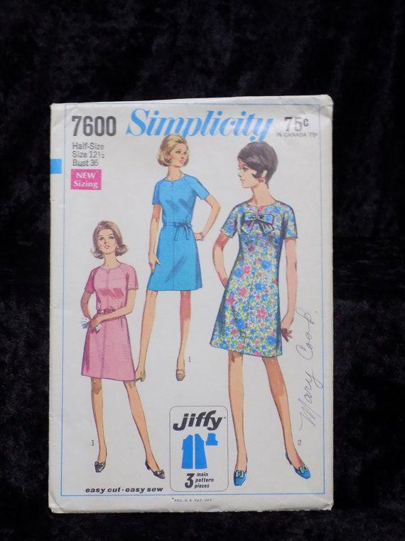 Vintage 1960er Jahre Schnittmuster Einfachheit 7600 1960er | Eu do ...