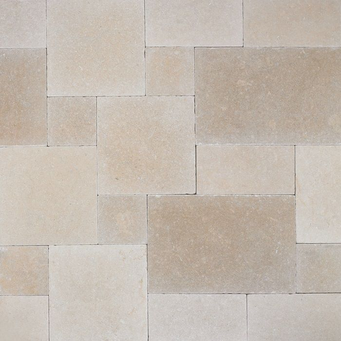 Grey limestone floor tiles