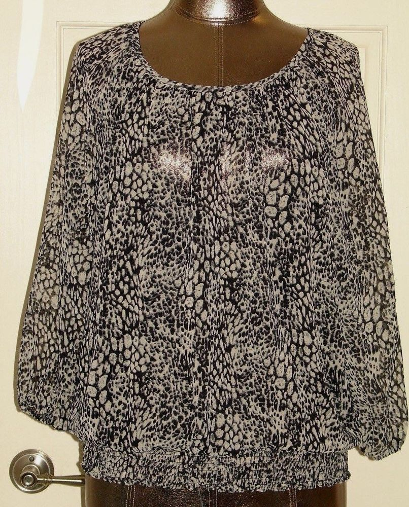 12f224598489f2 Cathy Daniels Womens Size M (44) Black Animal Print Sheer Blouse 307-13403  #fashion #clothing #shoes #accessories #womensclothing #tops (ebay link)