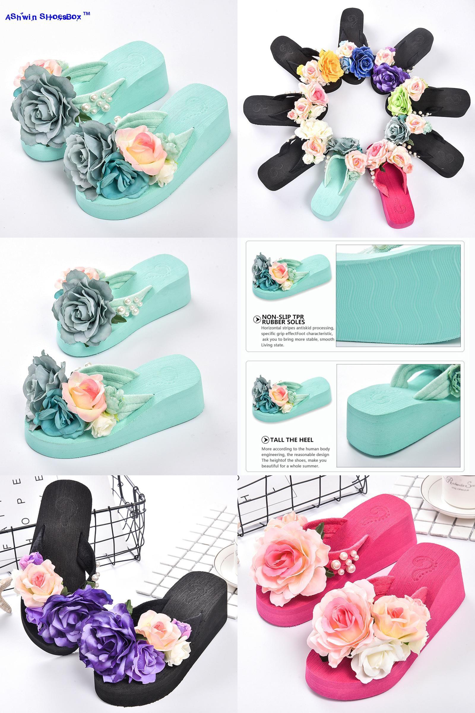 62fbaaeb045437  Visit to Buy  summer women flip flops mules clogs wedge flower sandals  garden shoes