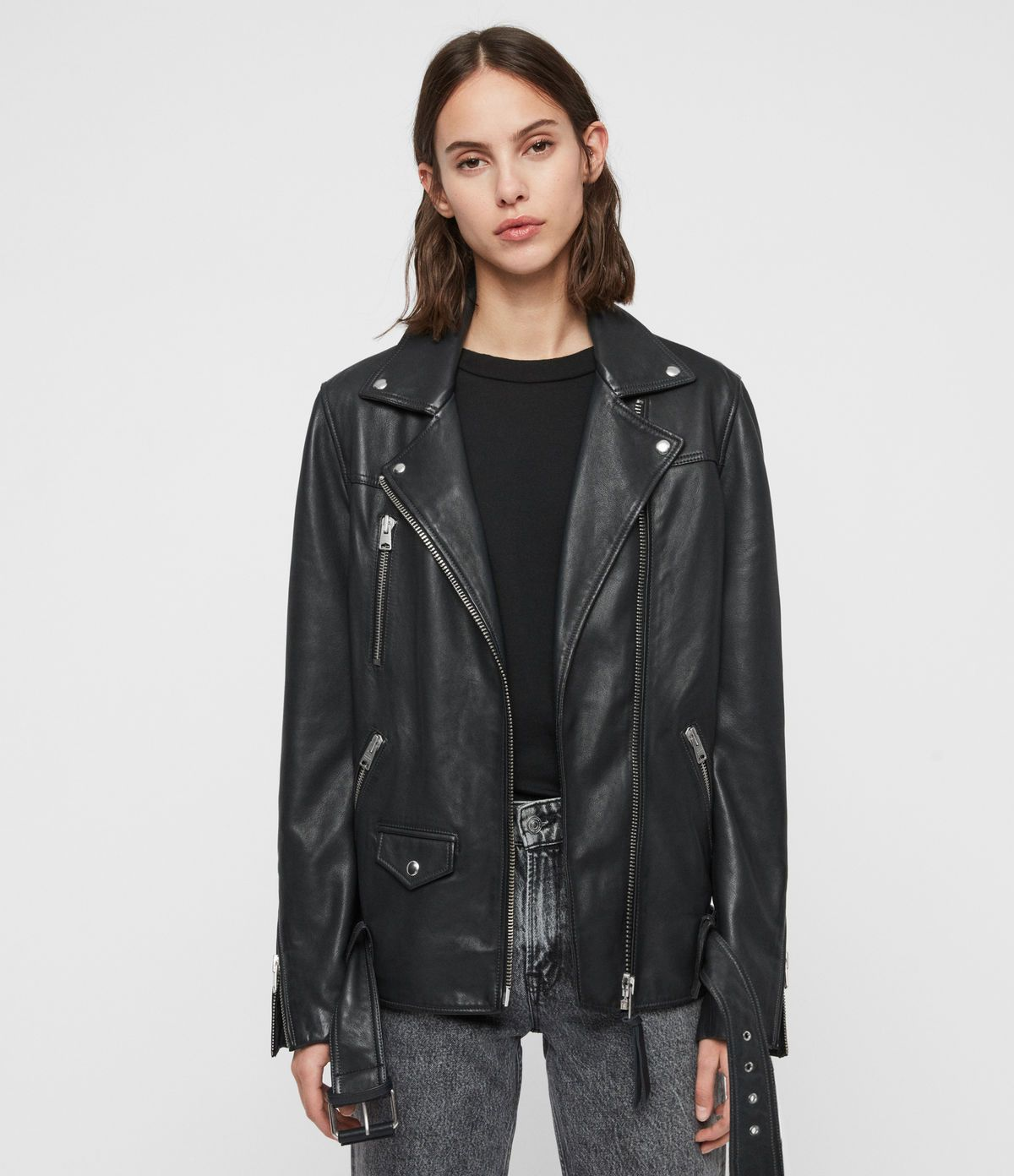 Allsaints Us Womens Eline Oversized Leather Biker Jacket Black Leather Jackets Women Leather Jacket Zara Leather Jacket [ 1392 x 1200 Pixel ]