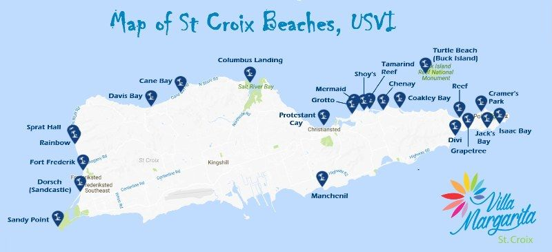 Great Map of St Croix Beaches USVI Caribbean Travel Collection