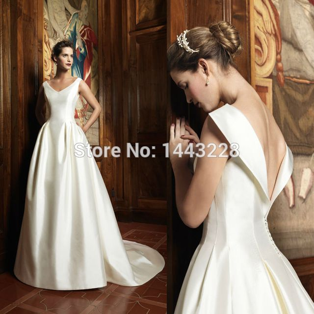 A Line V Neck Duchess Satin Wedding Dress Low V Back 1950s Vintage ...