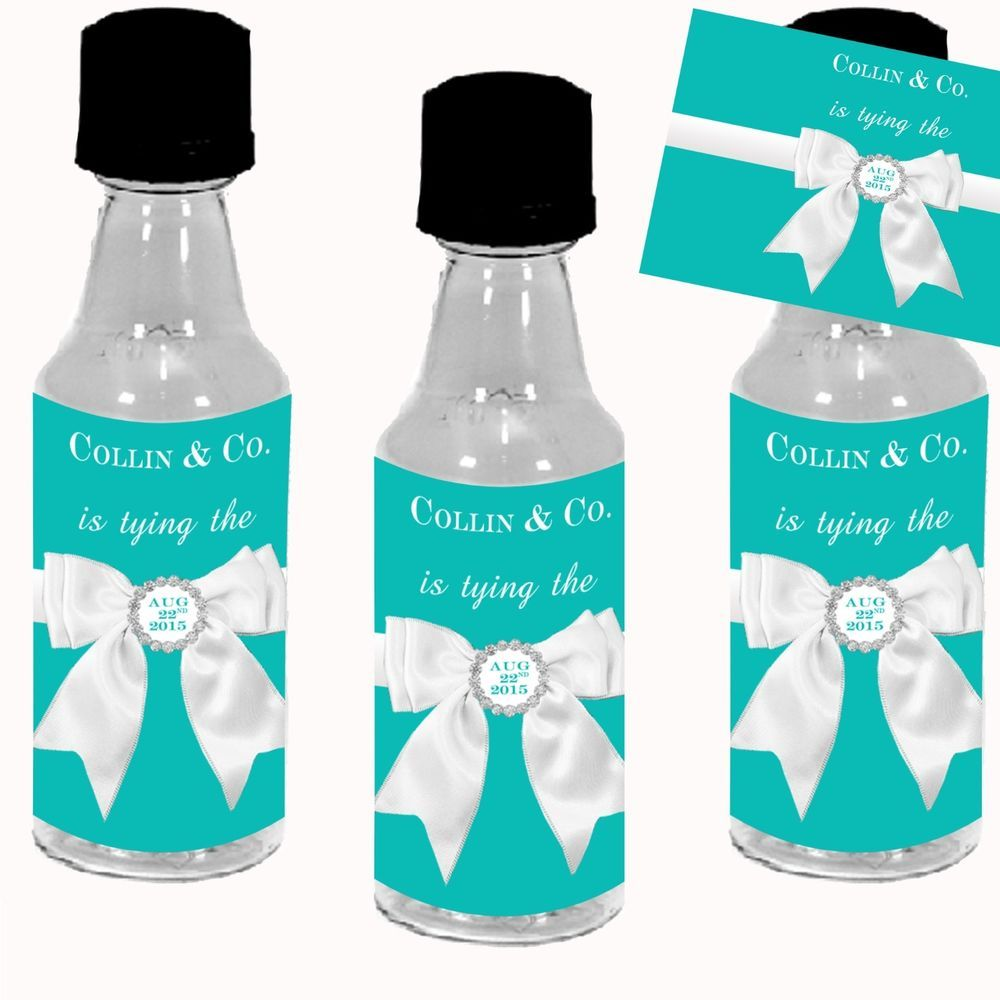 Tiffany Blue Bridal Shower Mini Liquor Bottle Labels + Bottle option ...
