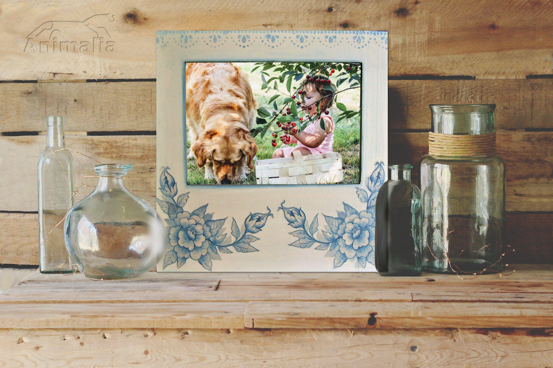 Cornice decoupage in legno per foto da parete, cornice