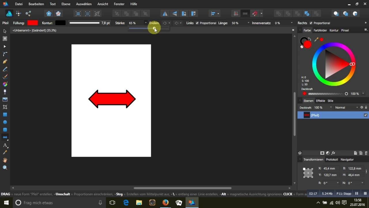 Pfeil Fensterbau mit dem formwerkzeug pfeile in affinity designer nutzen serif