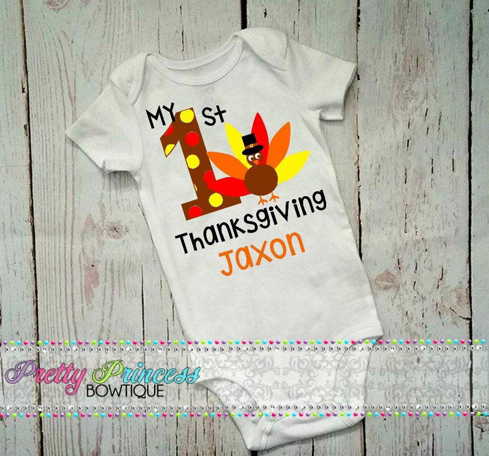 5eee8f52 My 1st Thanksgiving, Turkey Shirt, Infant Boy Thanksgiving Shirt, Thanksgiving  Outfit, First Thanksgiving, Baby's 1st Thanksgiving by PrettyPrincessBowtiq  ...