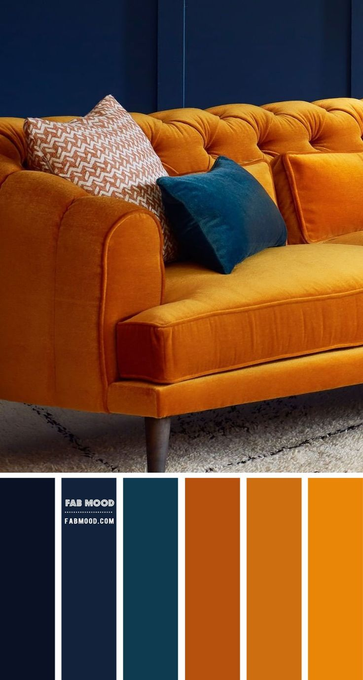 Navy Blue And Turmeric Living Room Blue And Orange Living Room Living Room Orange Room Color Schemes