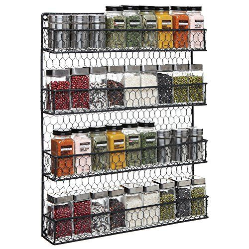 4 Tier Black Country Rustic Chicken Wire Pantry, Cabinet or Wall Mounted Spice Rack Storage Organizer - http://spicegrinder.biz/4-tier-black-country-rustic-chicken-wire-pantry-cabinet-or-wall-mounted-spice-rack-storage-organizer/