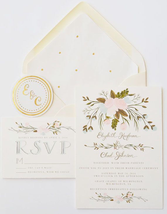 Custom Hand Painted Wedding Invitation Suite Set By Firstsnowfall