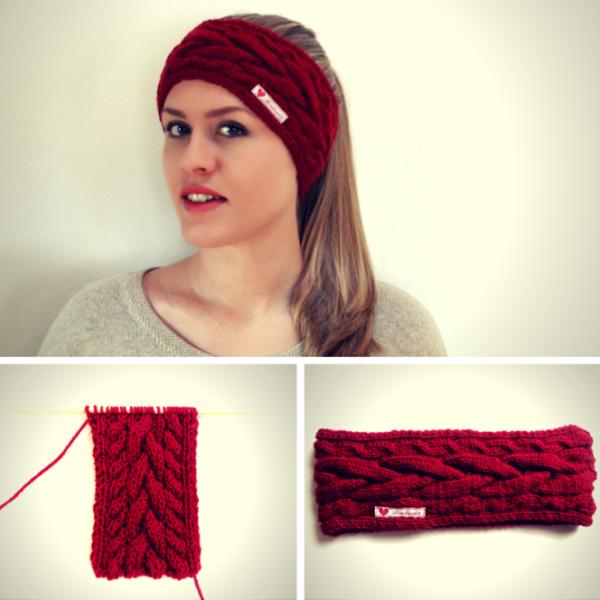 Anleitung: Stirnband mit Zopfmuster stricken