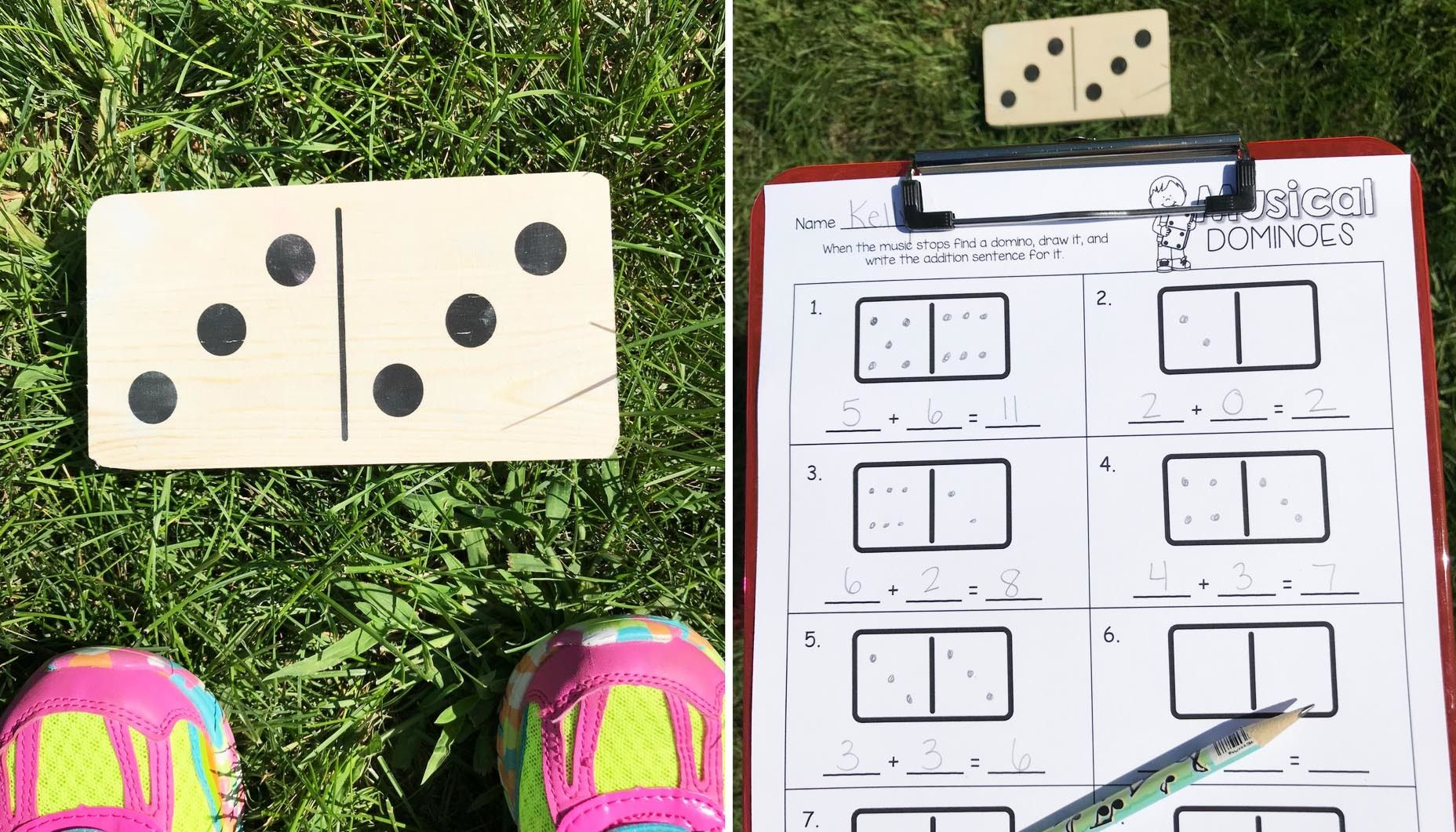 Outdoor Musical Dominoes Math Game