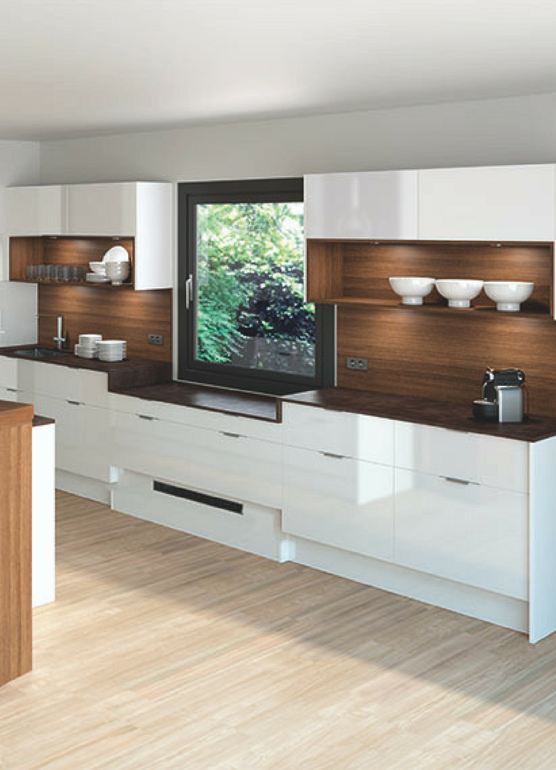 Küche, weiß, Hochglanz, glänzend, Fronten Hochglanz, weiße Fronten, modern, moderne Küche ...