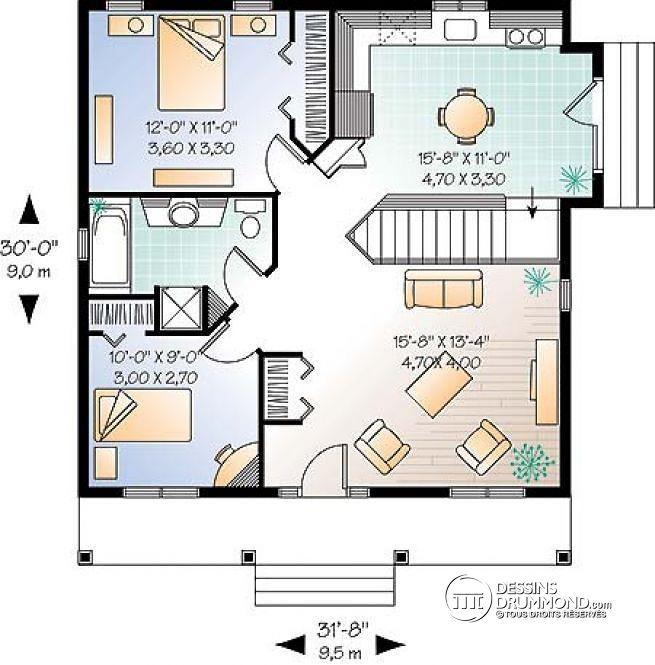 W4127 - Modèle de Plain-pied de 2 chambres, abordable, entrée