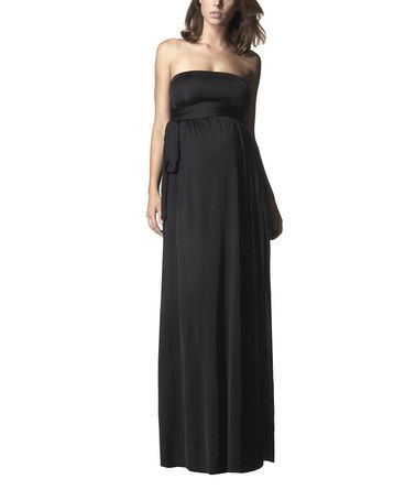 2a32f1baca235 Take a look at this Caviar Black Column Maternity Wrap Maxi Dress by Isabella  Oliver on #zulily today!