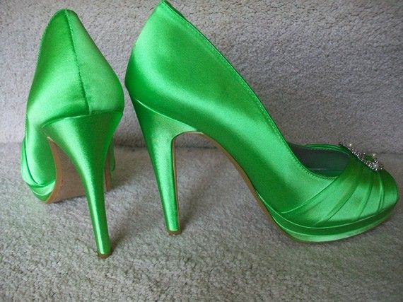 Green Wedding Shoes Platform Heel Bridal Adorned With Swarovski Pearls Over 100 Colors To Choose From 4 Inch