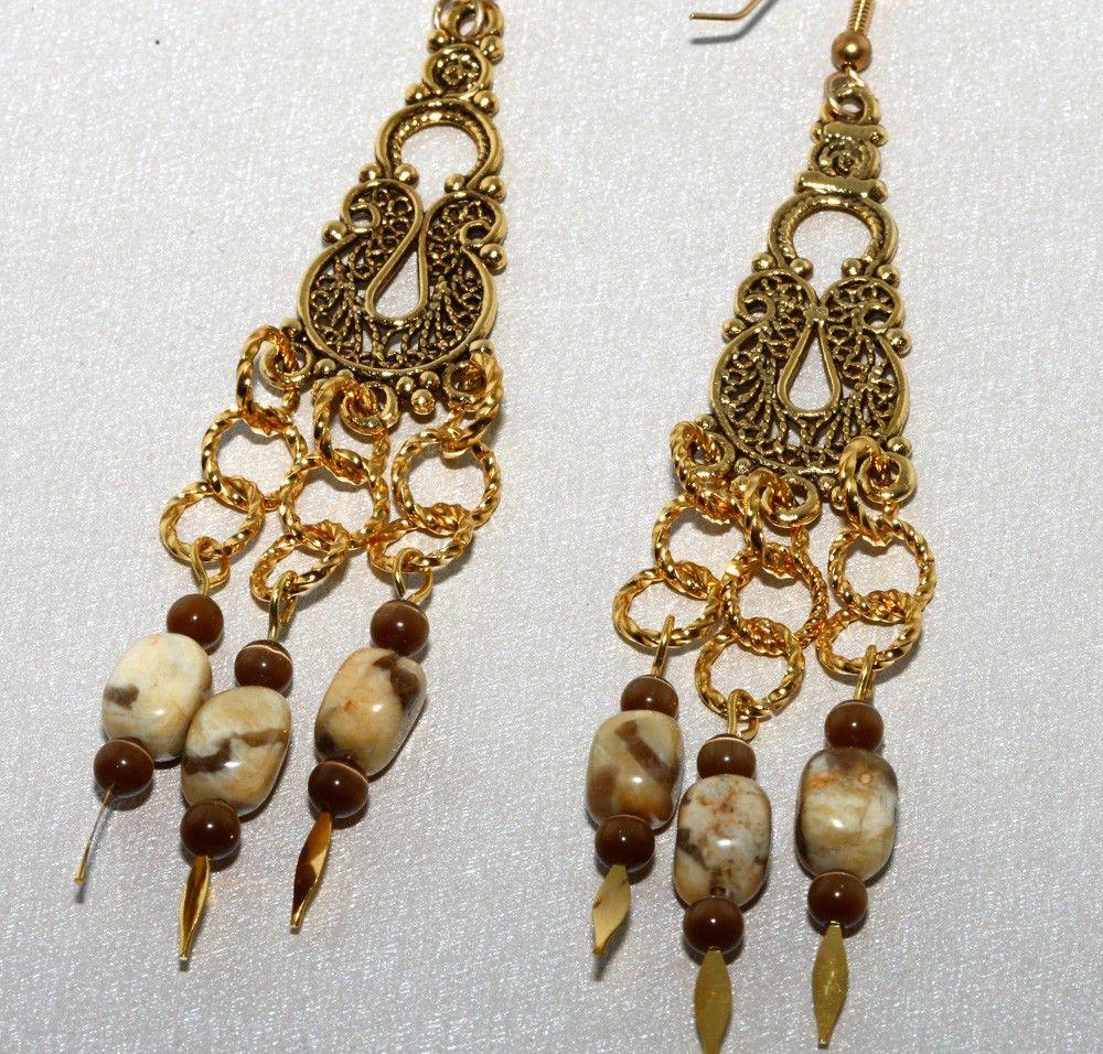 Long Chandelier Beaded Earrings Tan and Brown Feldspar by NevadaLadyJ on Etsy