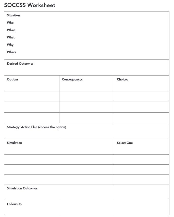 SOCCSS Worksheet For Problem Solving. See Comment For Pdf